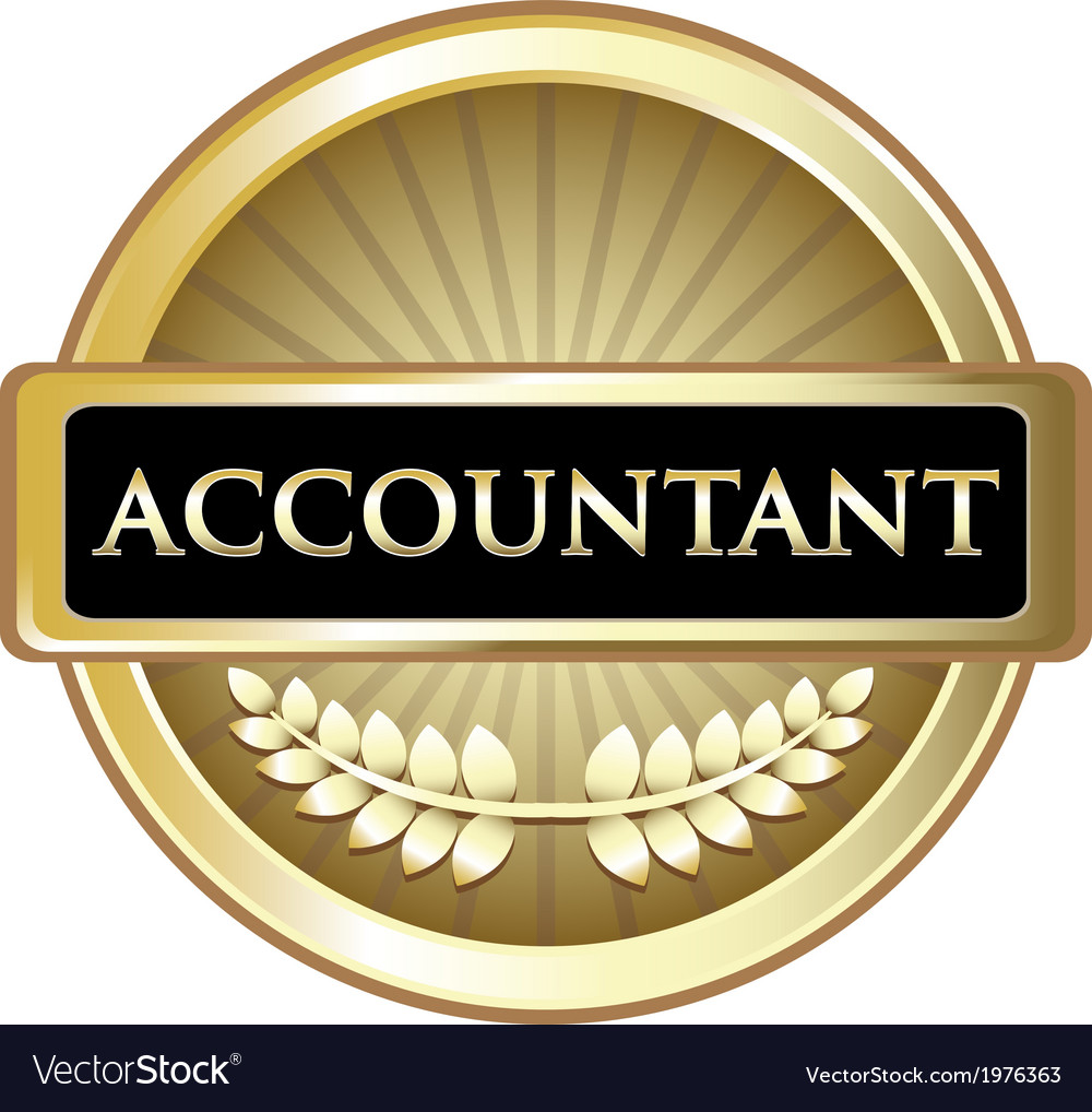 Accountant gold label vector