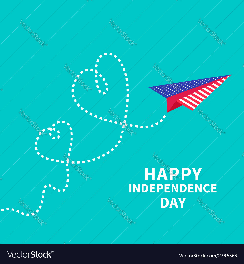 Paper plane with two hearts dash line independence vector