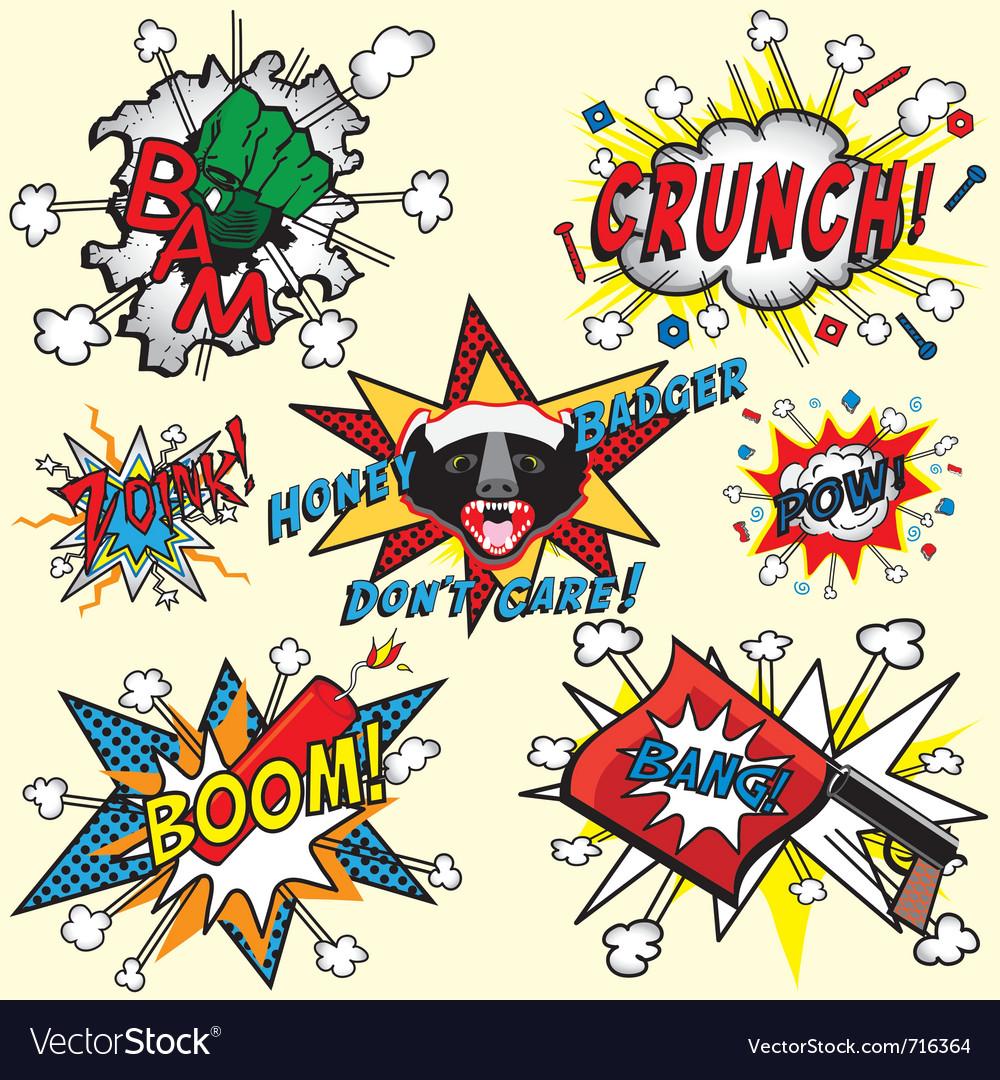 Comic book explosions vector