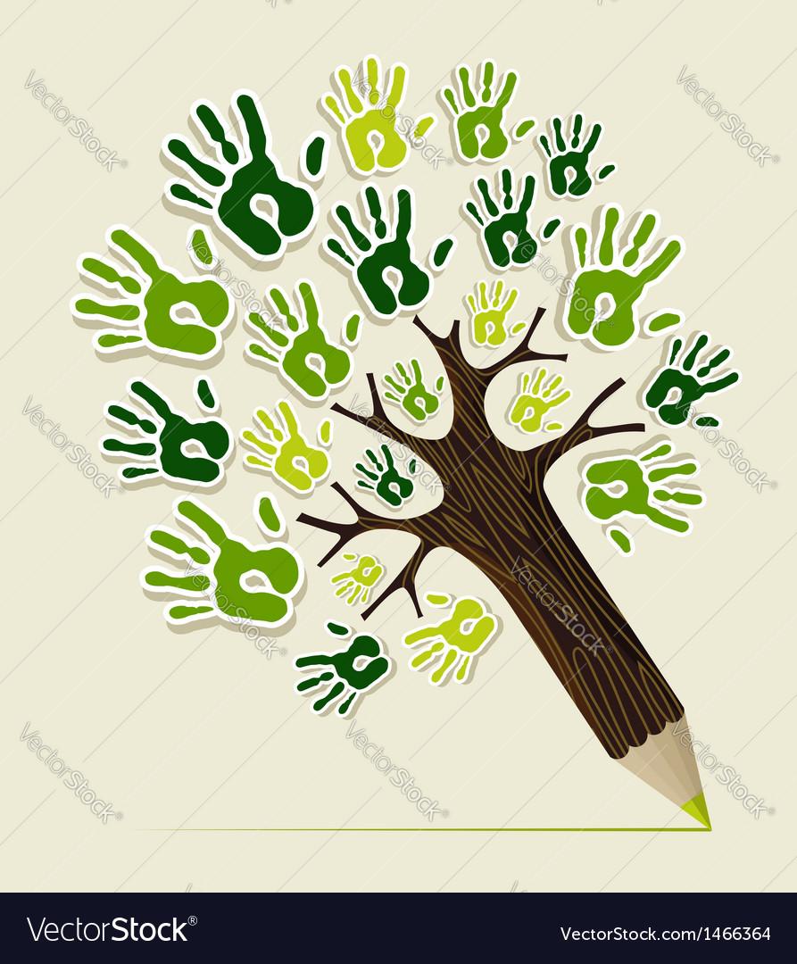 Eco friendly pencil tree hands vector