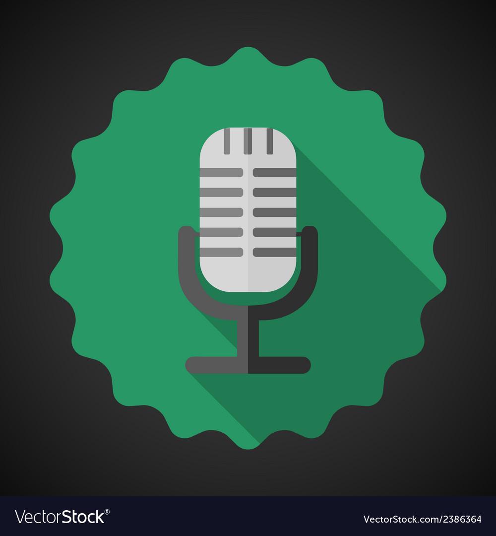 Music mic microphone flat icon vector