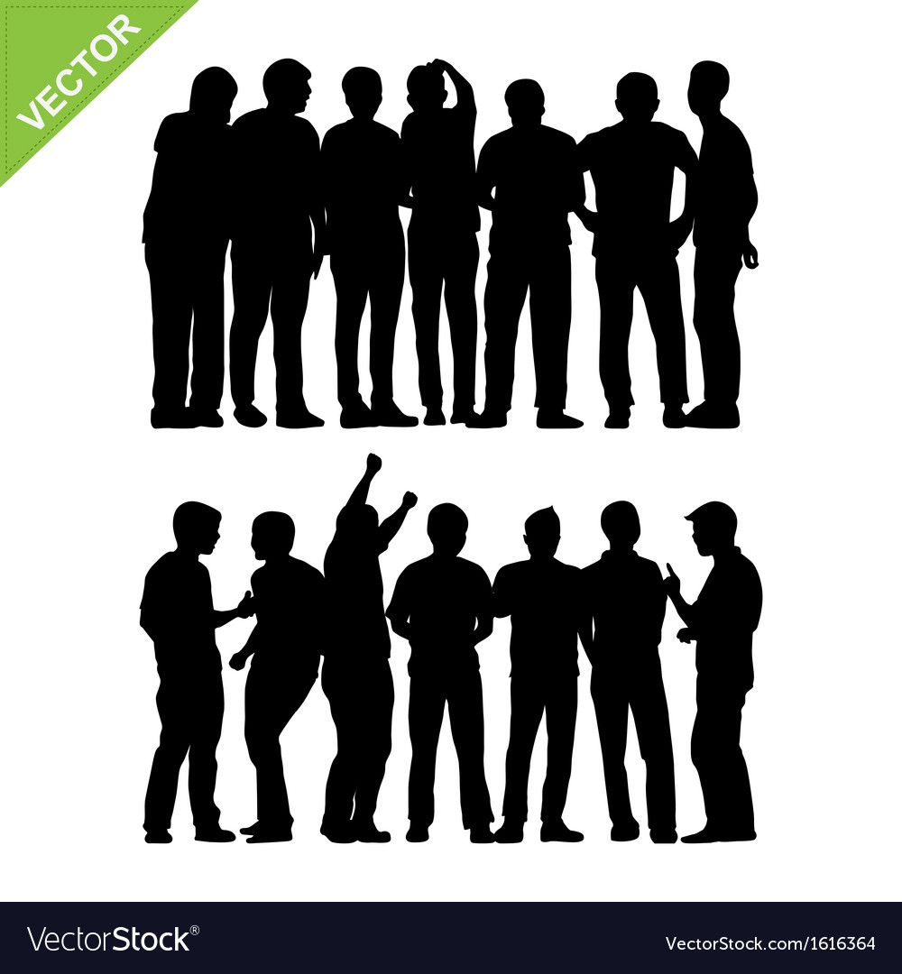 Peoples group silhouettes vector