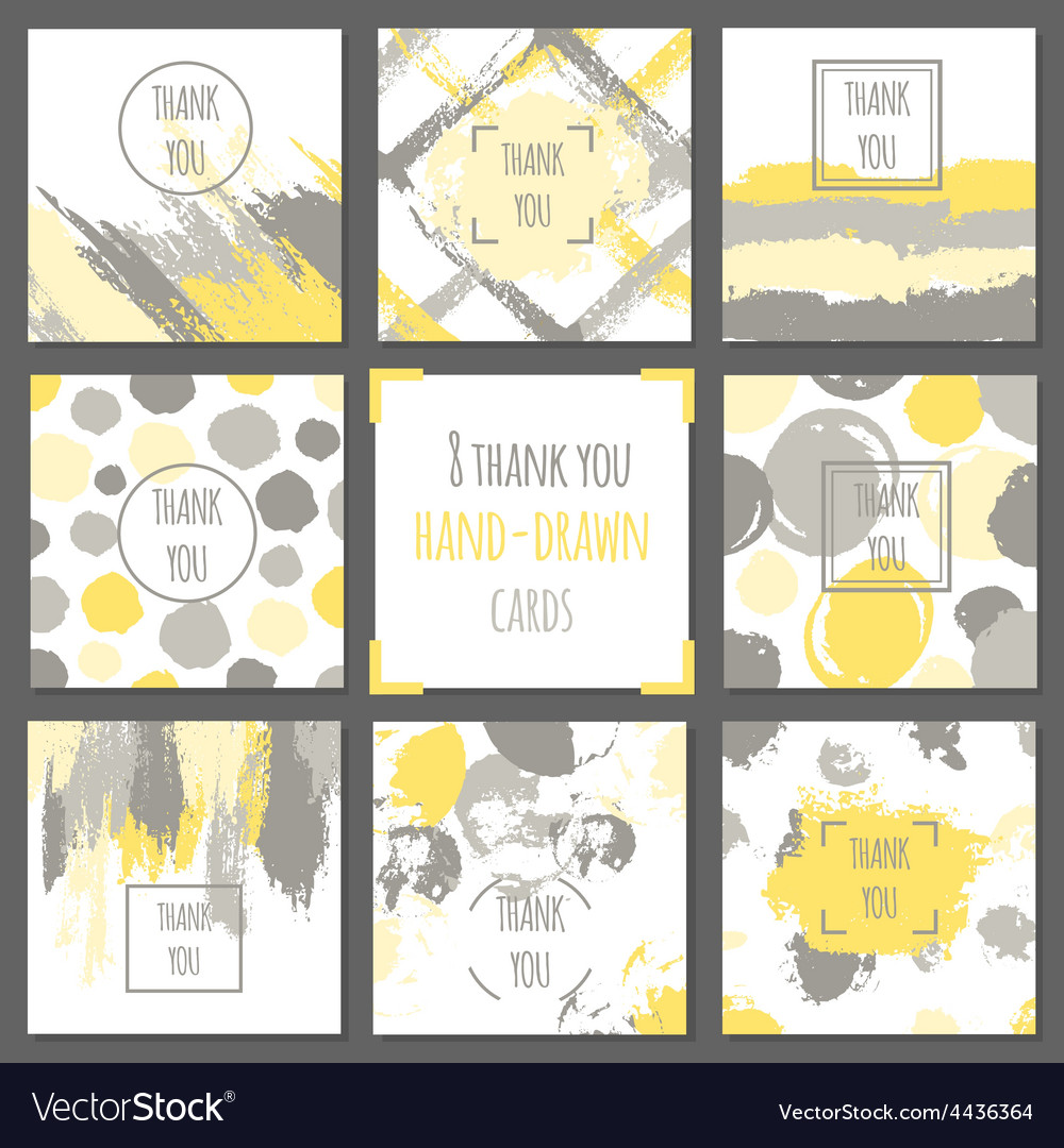 Set of thank you cards hand drawn backgrounds vector