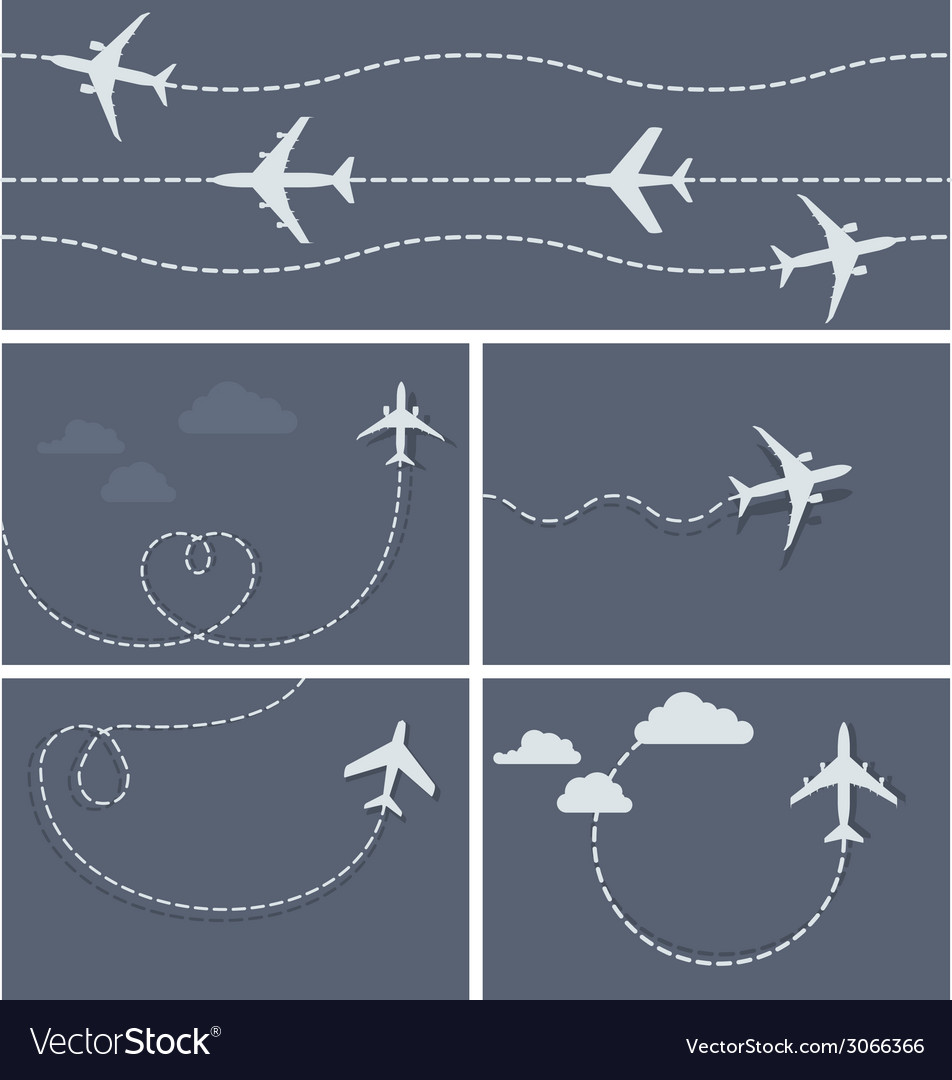 Plane flight - dotted trace of the airplane vector