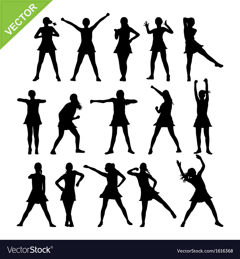 Aerobic dance silhouettes vector
