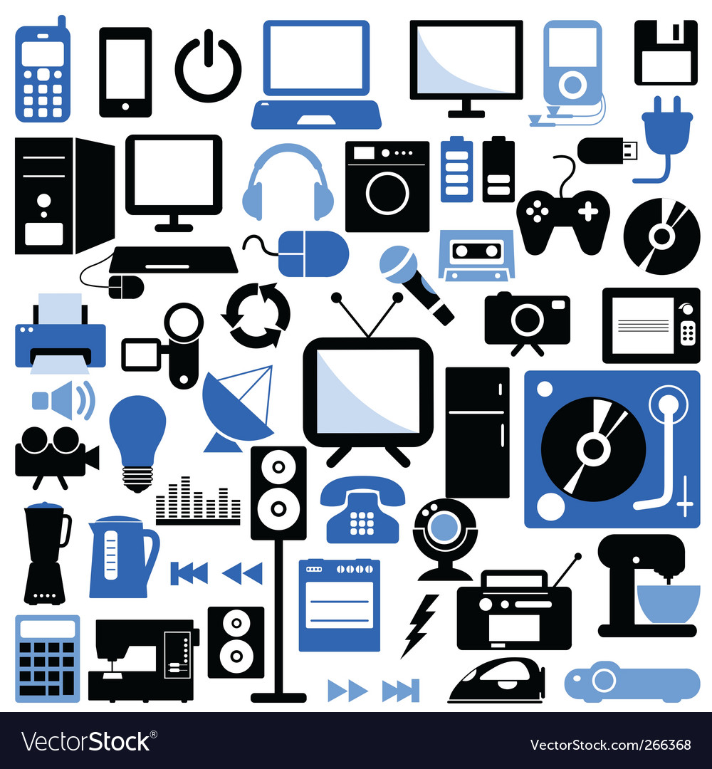 Electronic icons set vector