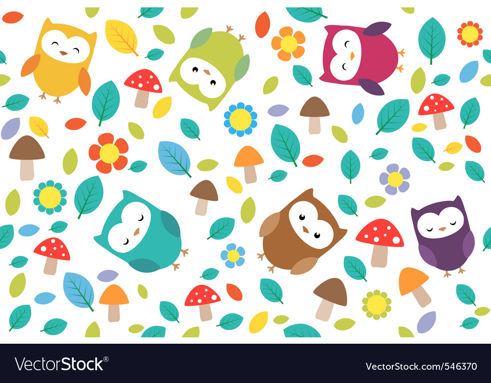 Owls and leafs vector