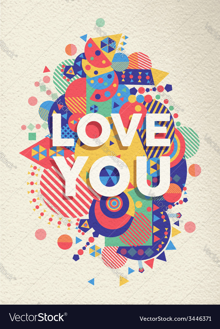 Love you quote poster design vector