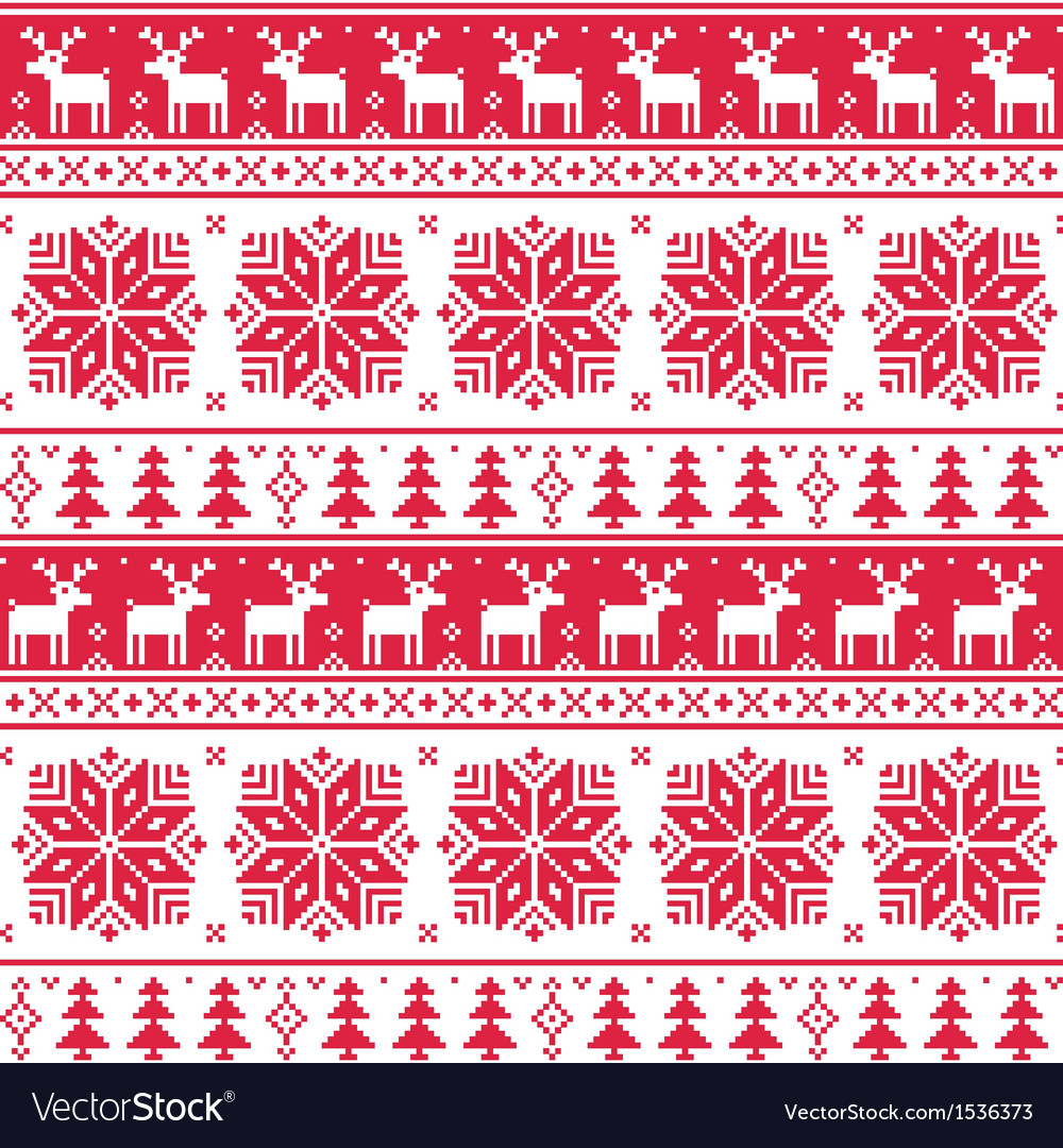 Xmas nordic seamless red pattern with deer vector