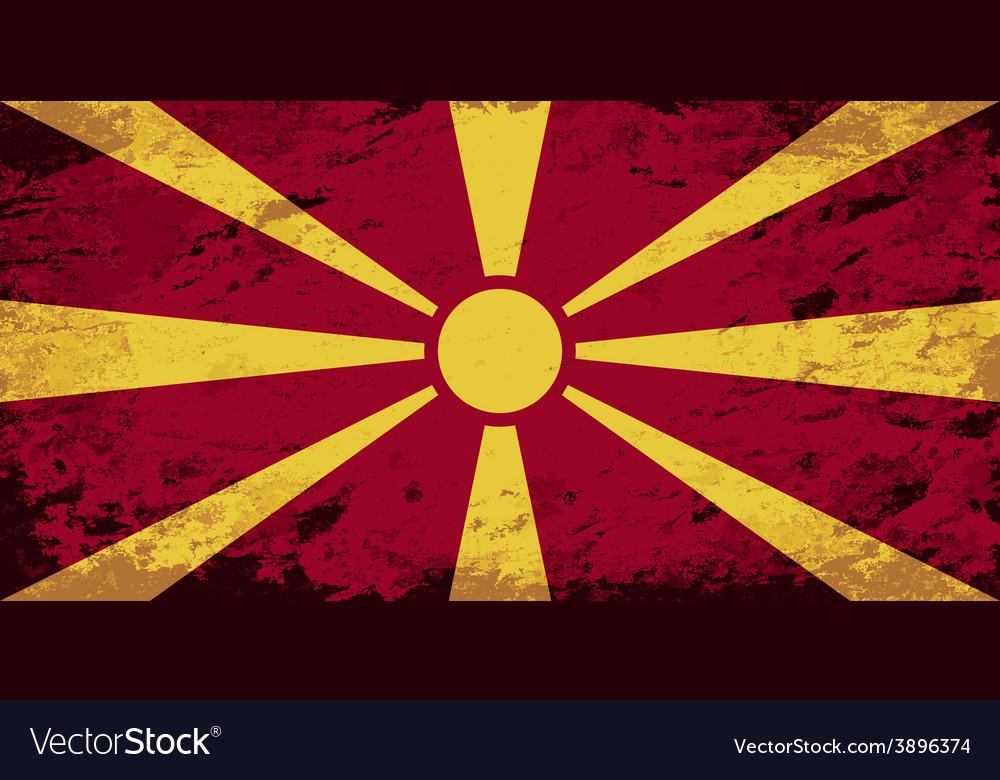 Macedonian flag grunge background vector