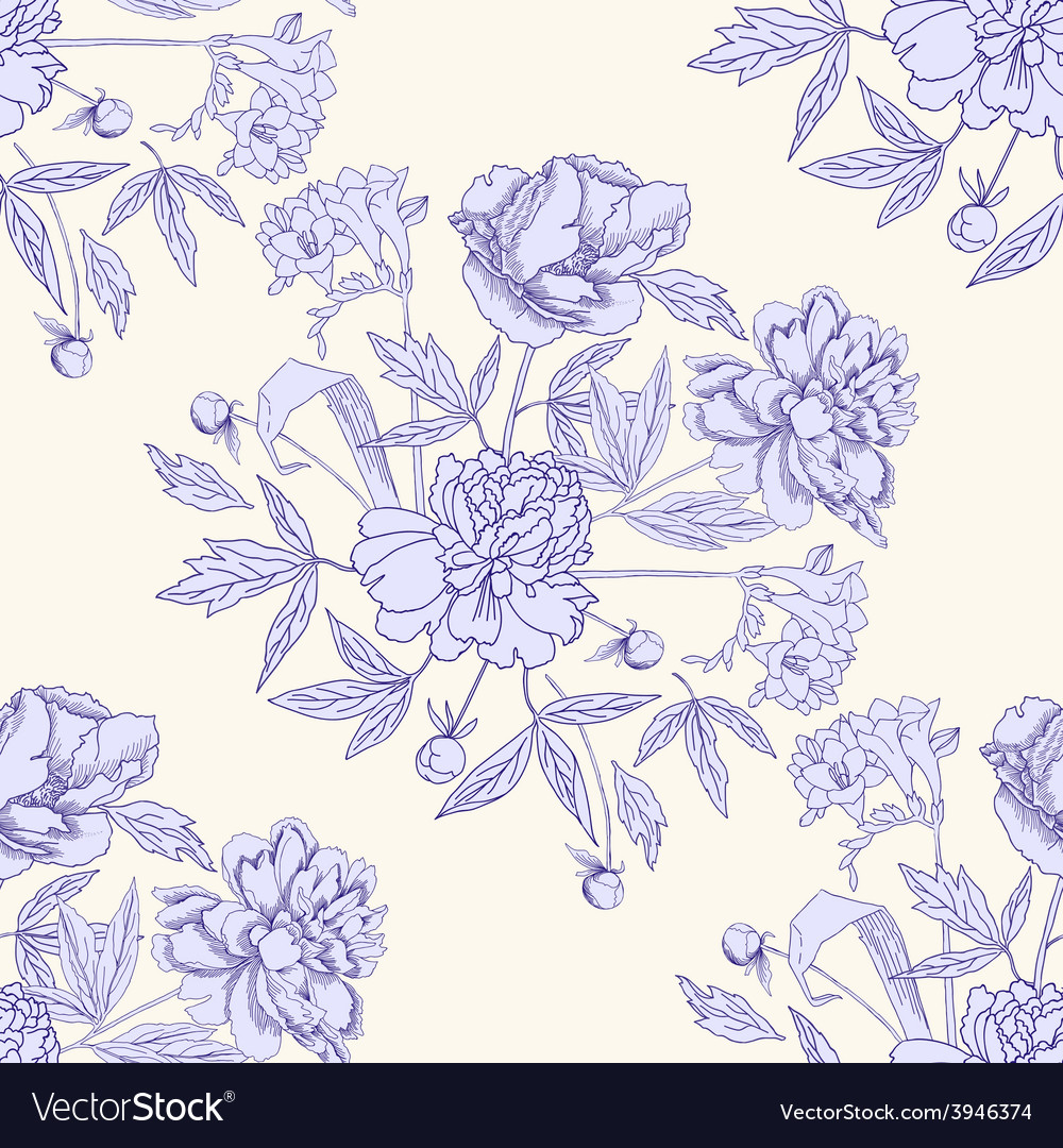 Seamless pattern with bouquet of flowers-05 vector