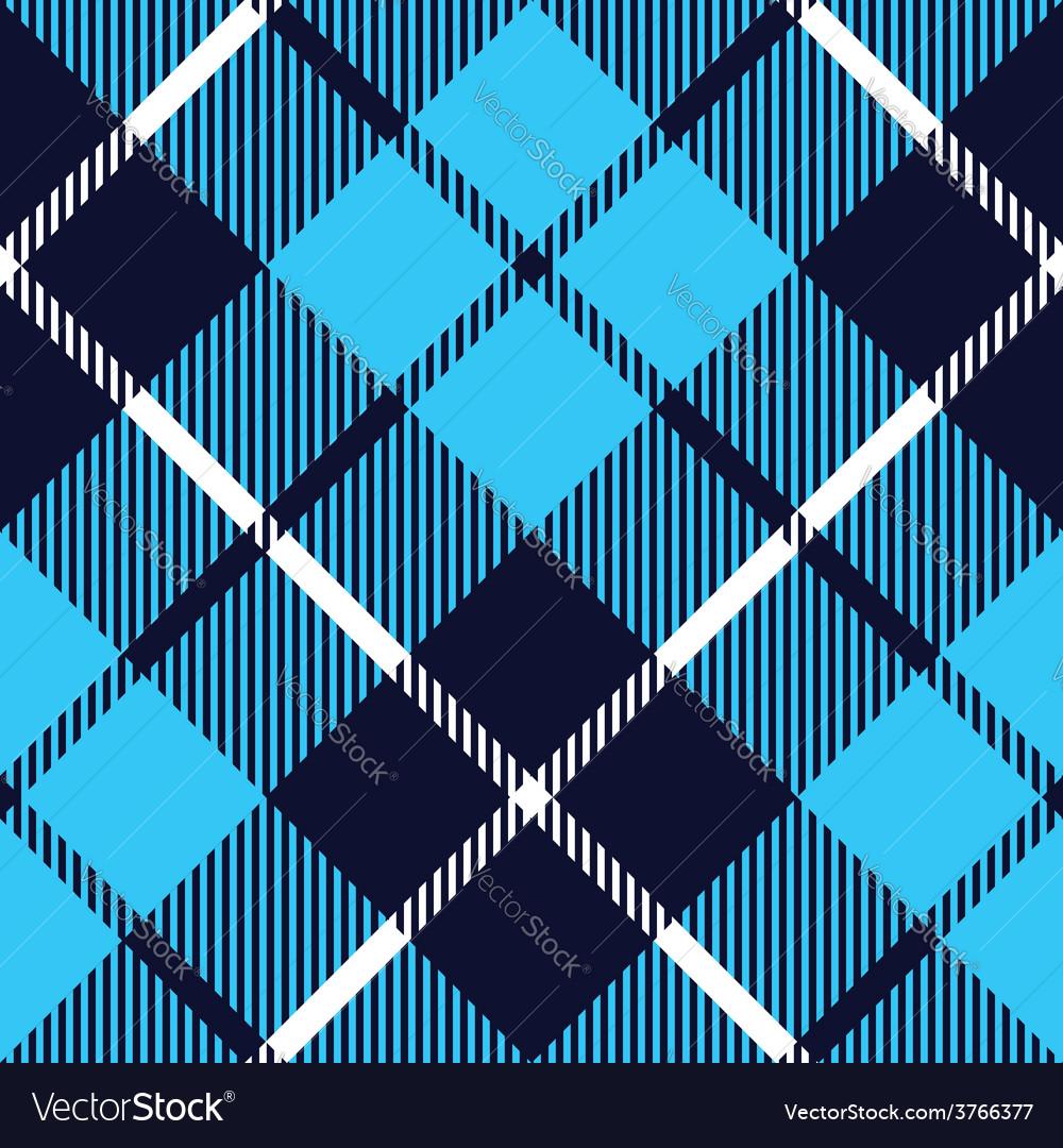 Blue tartan fabric texture diagonal pattern vector