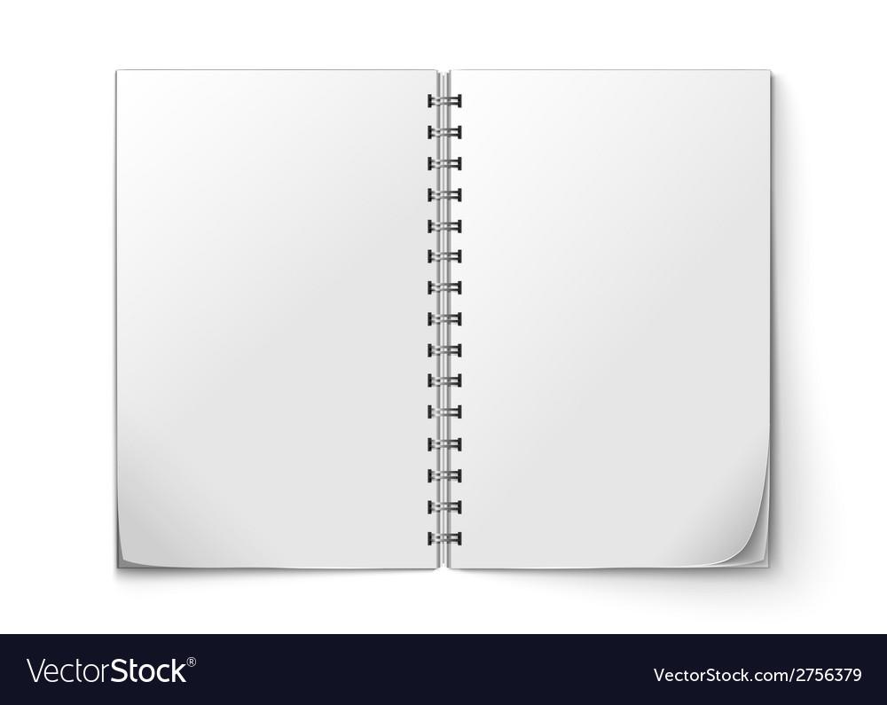Realistic notepad open vector