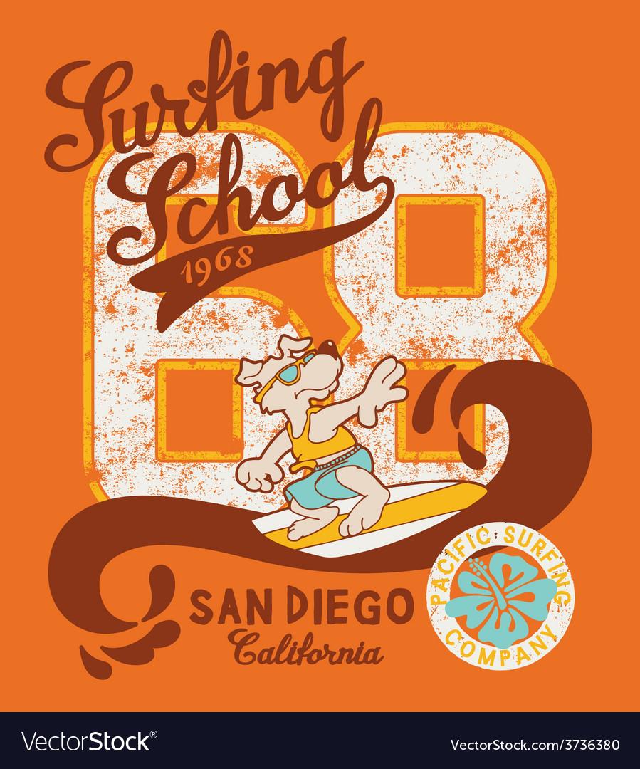 Cute surfing dog school vector