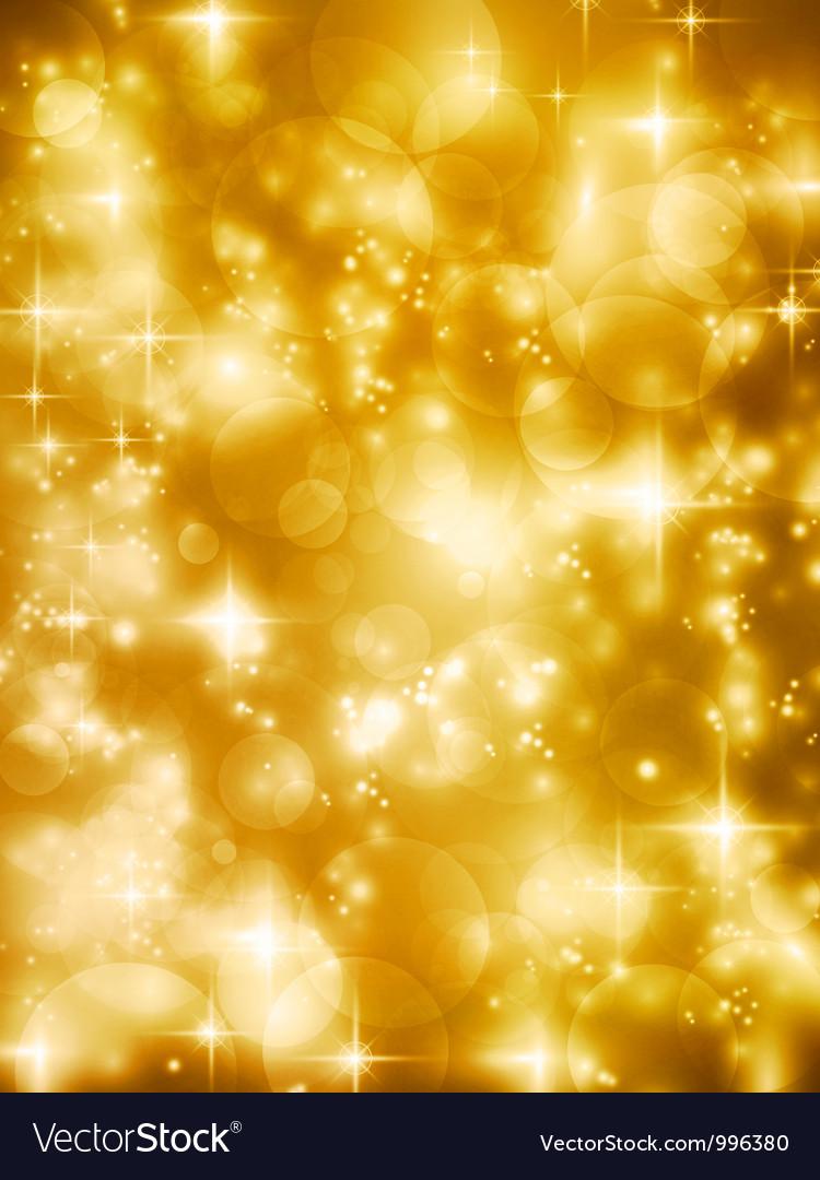 Festive golde bokeh lights background vector