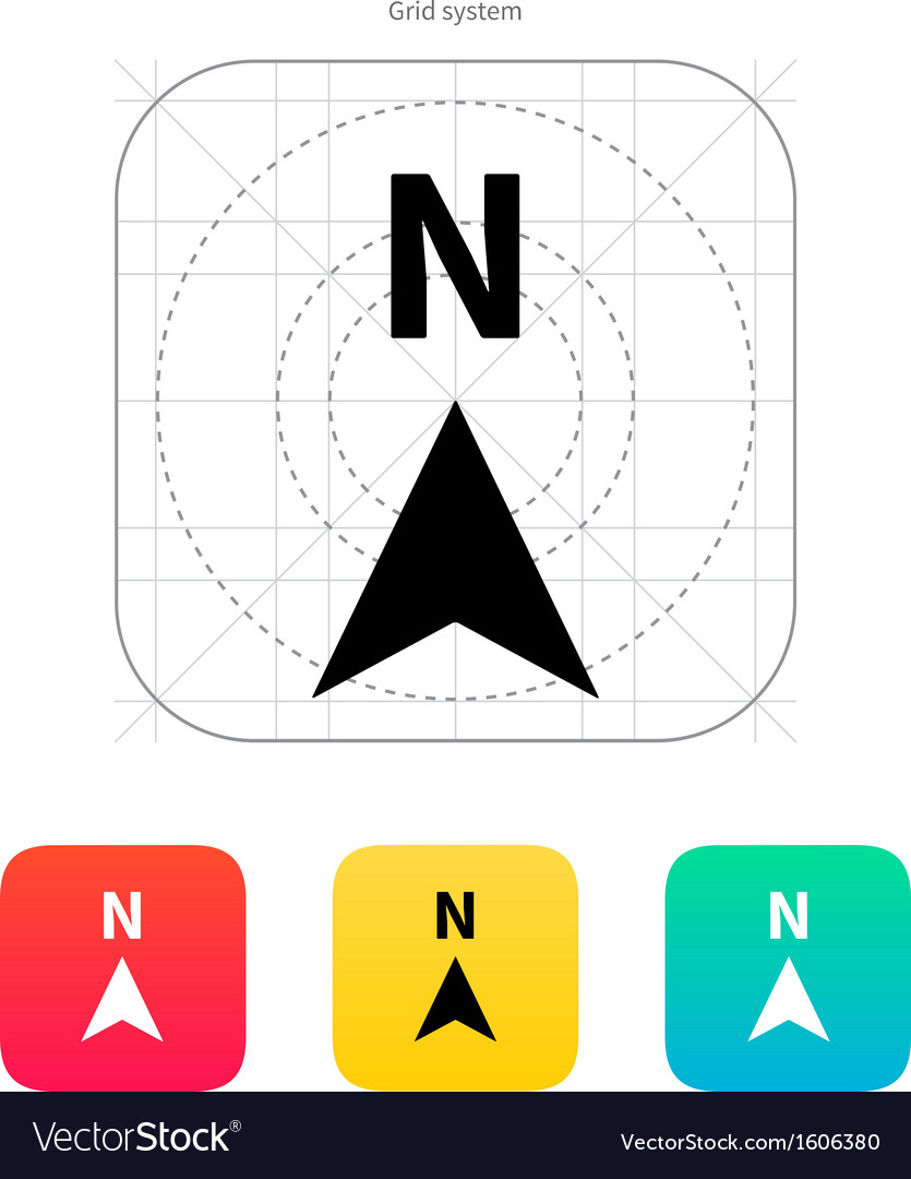 North direction compass icon vector