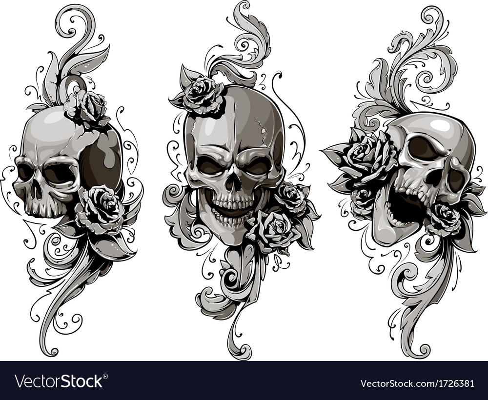 Skulls with floral patterns vector