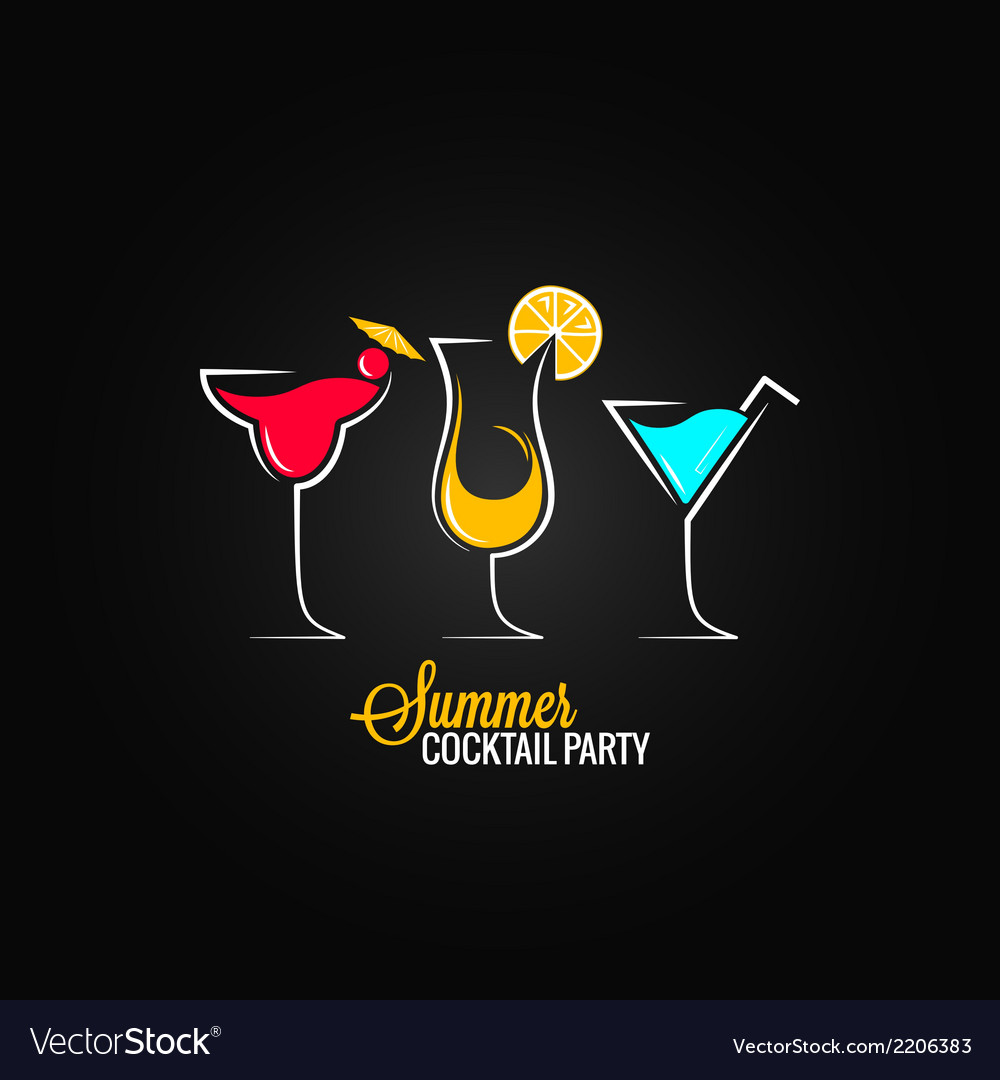 Cocktail summer party design menu background vector
