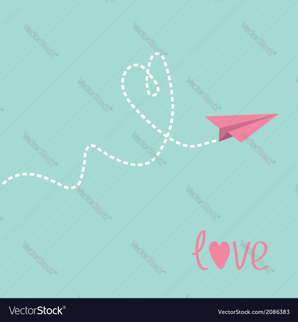 Origami paper plane dash heart in the sky love car vector