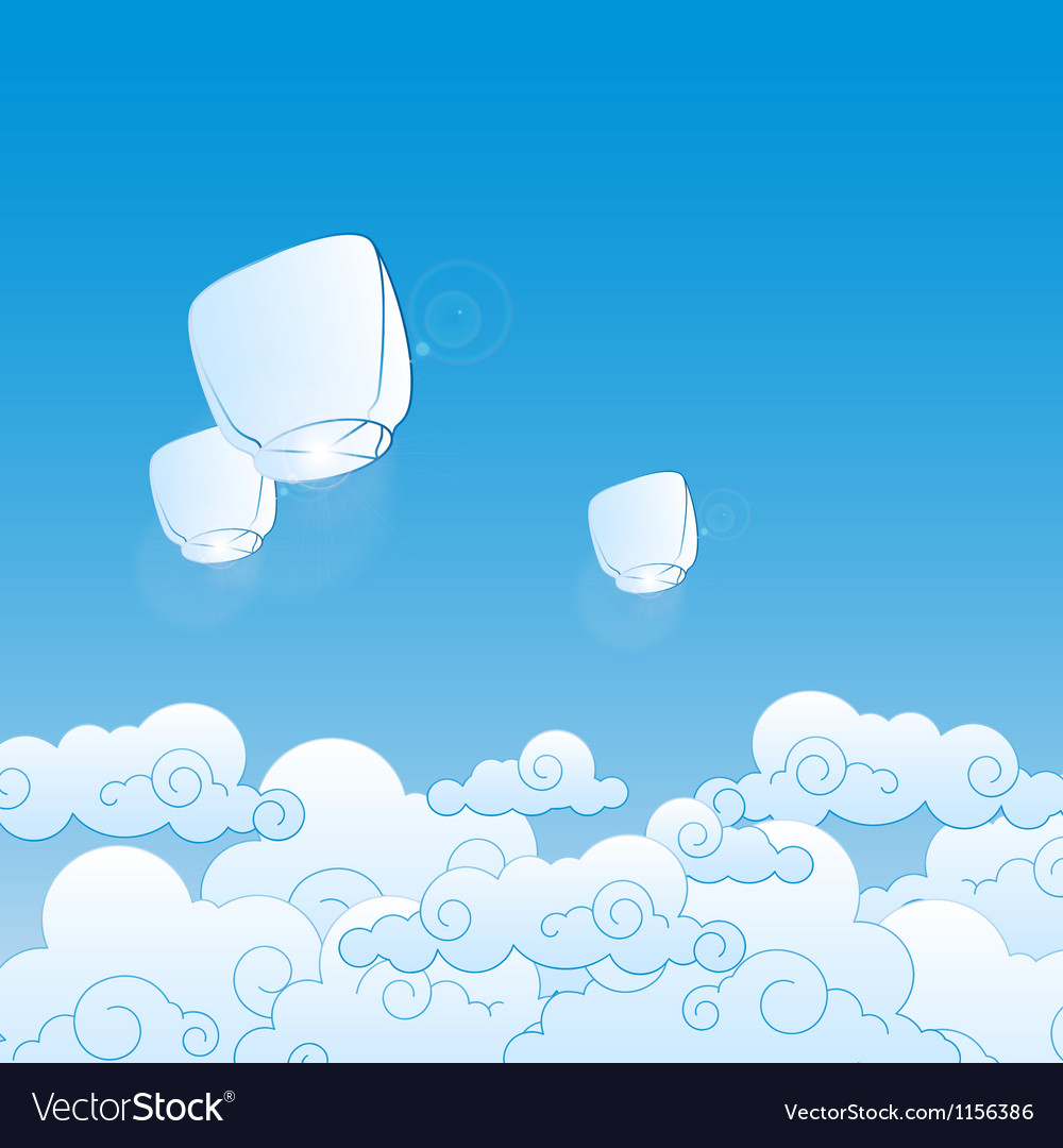 Paper lanterns in the sky vector
