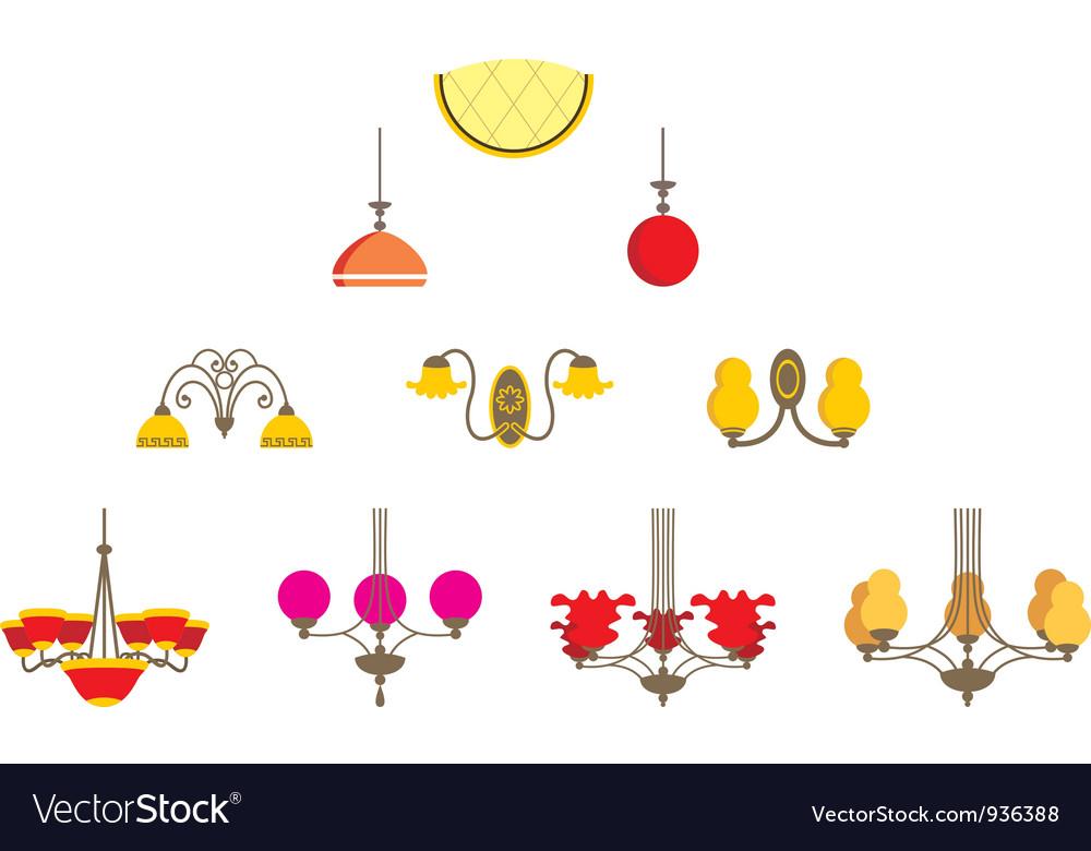 Set of chandeliers vector