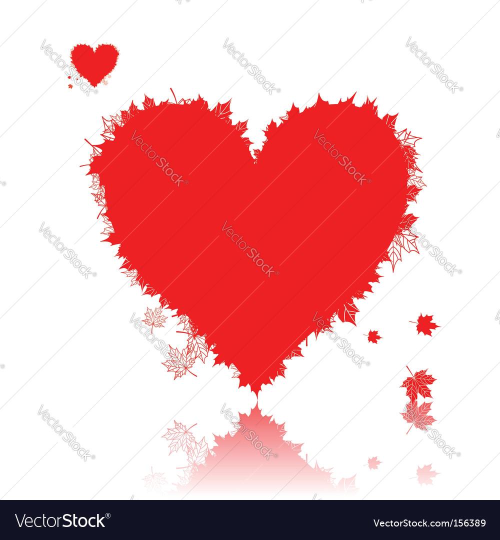 Autumn love heart shape leaf vector