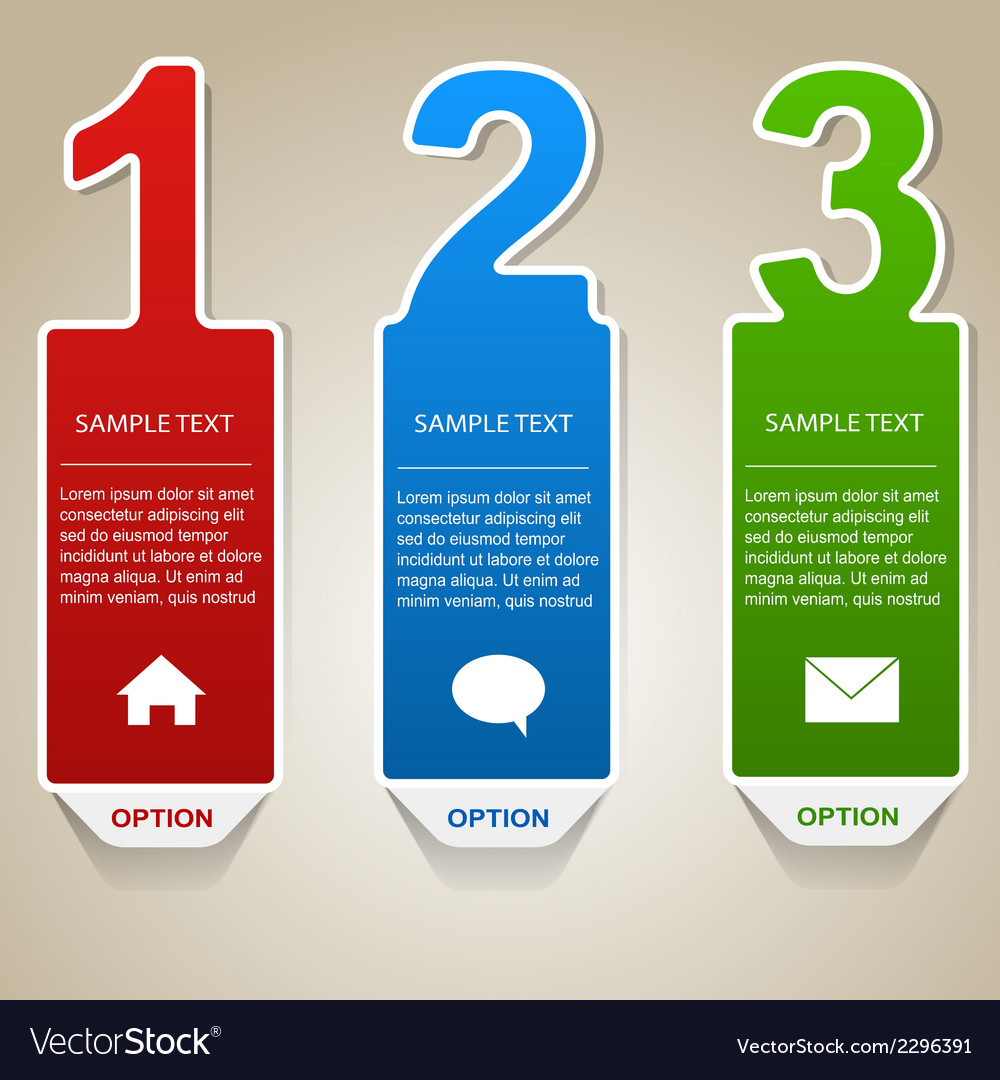 Numbered info banners vector