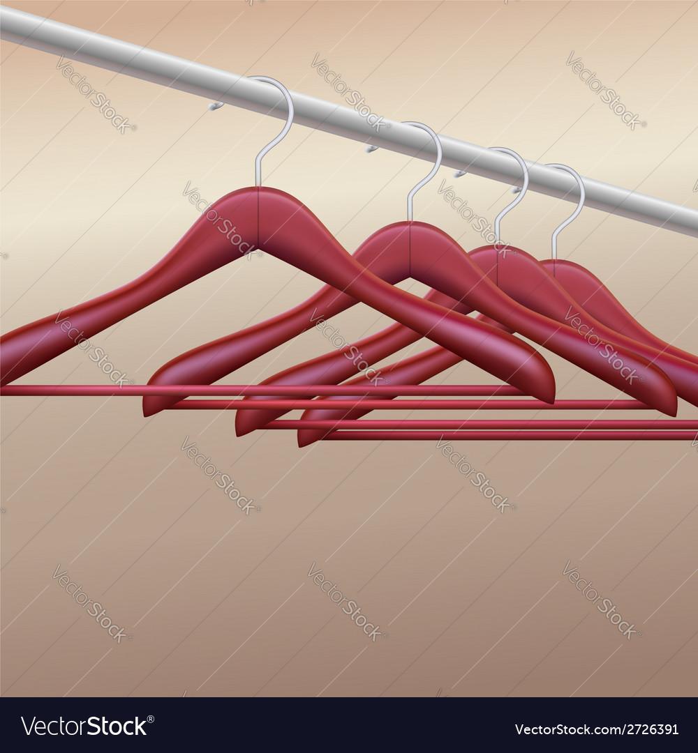 Wooden hangers vector