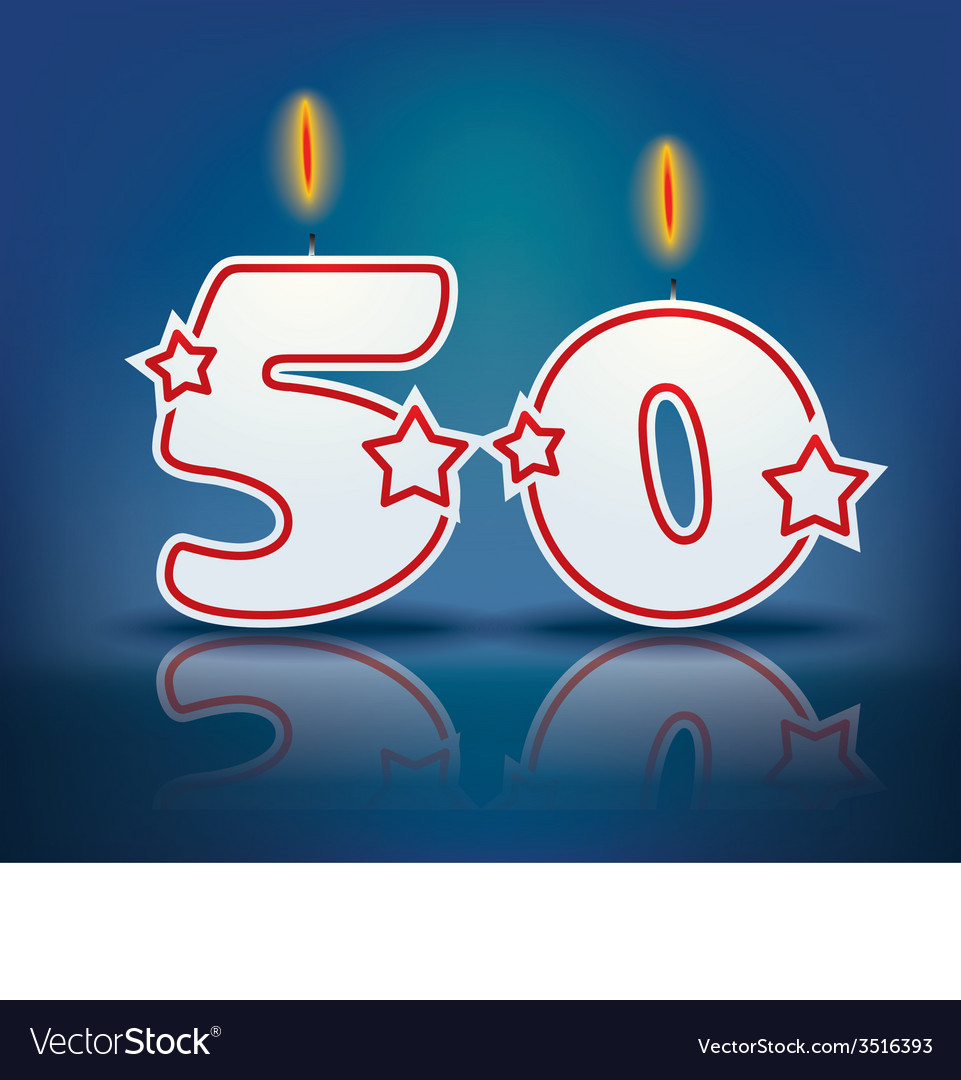 Birthday candle number 50 vector