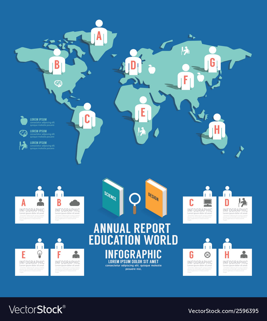 Infographic annual report education world vector