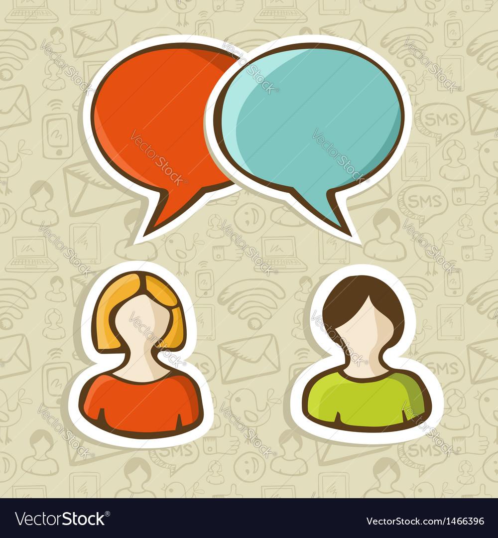 Social media chat icons set vector
