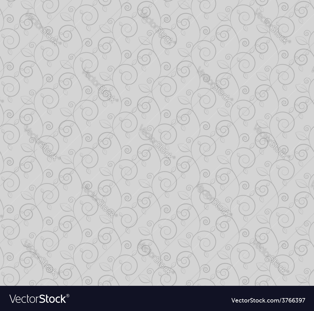 Gray branches and leaves seamless pattern vector