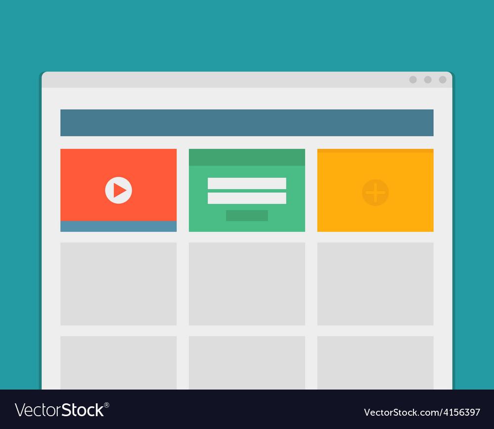Simple browser window create website on blue vector