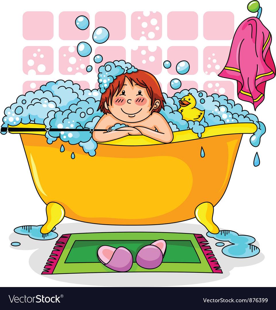 Kid in the bath vector