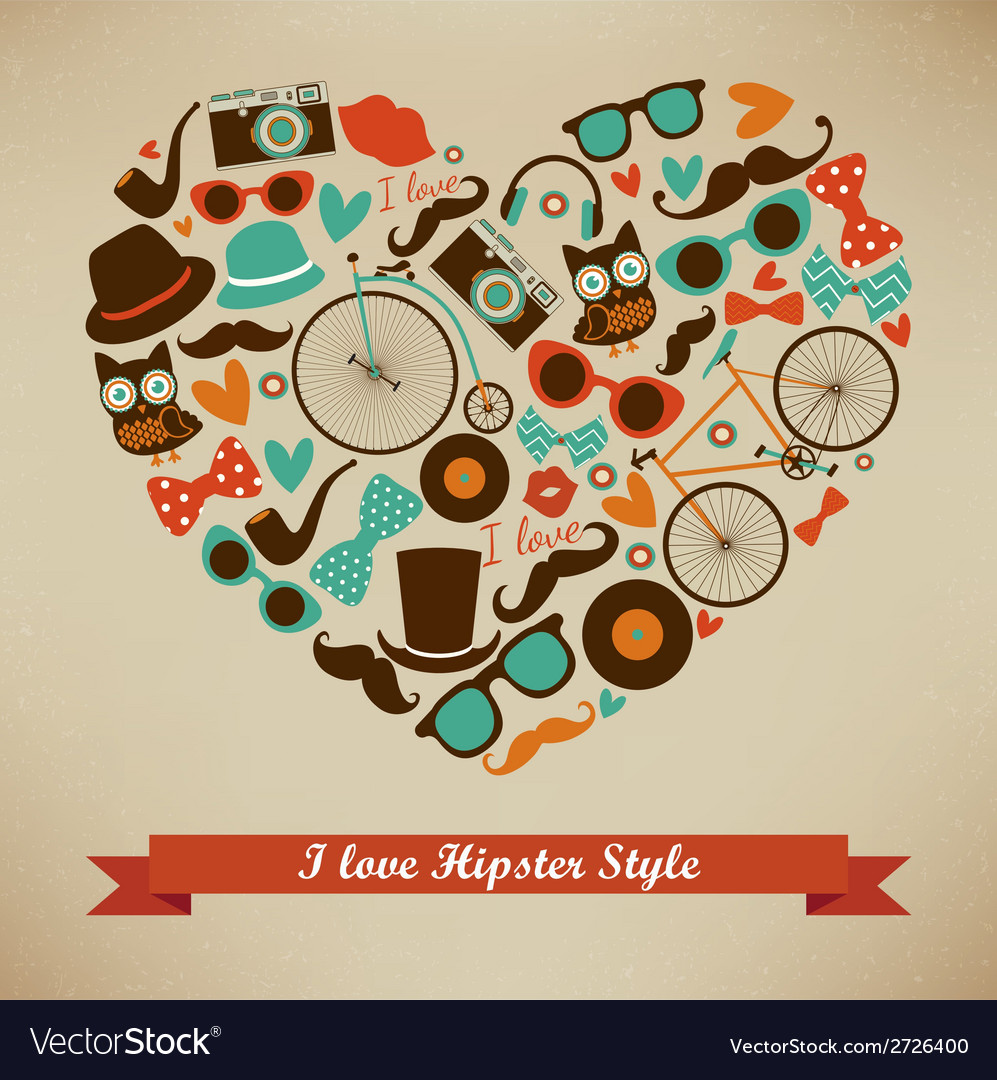 I love hipster style icon set vector