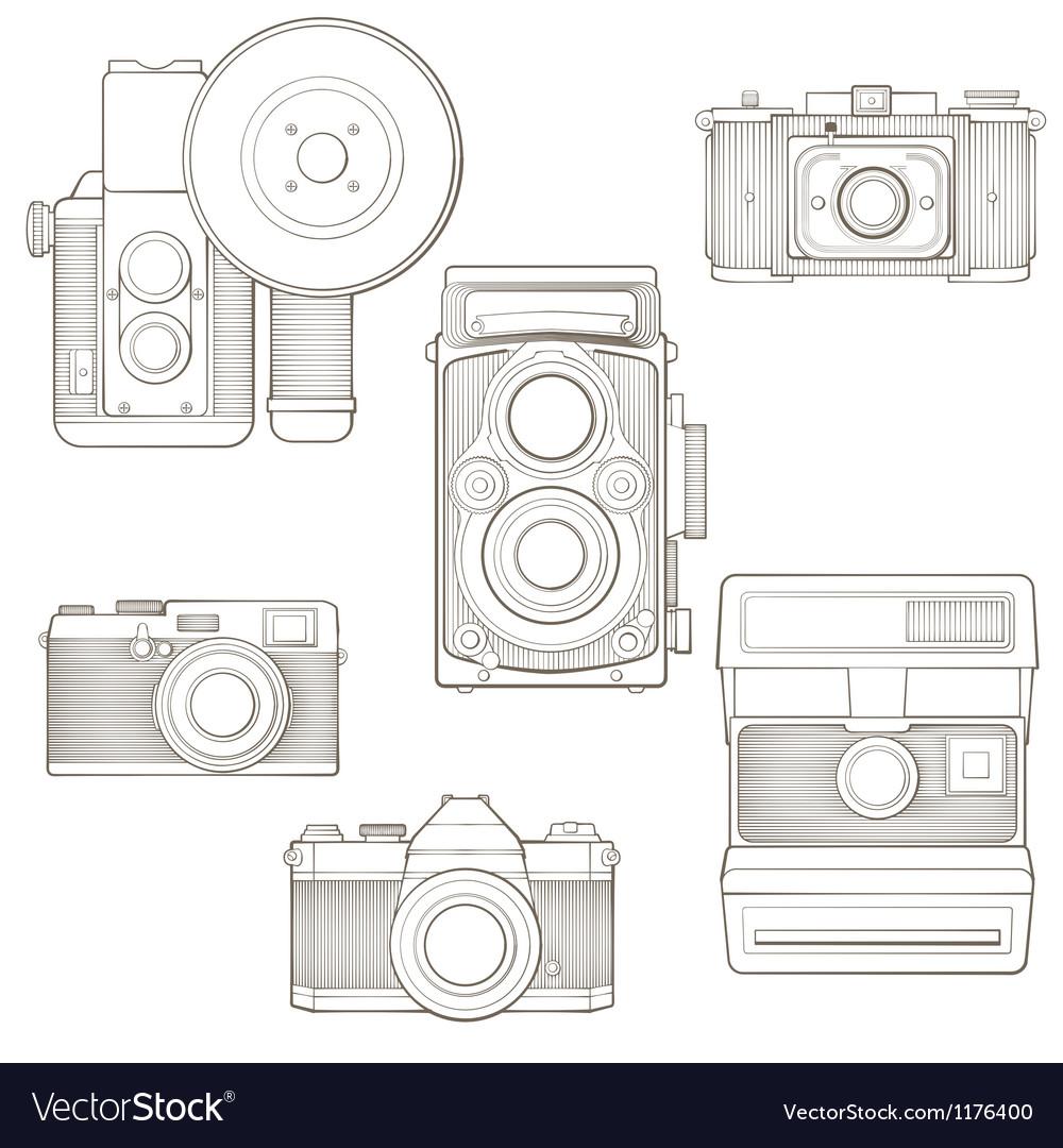 Vintage photo cameras set vector
