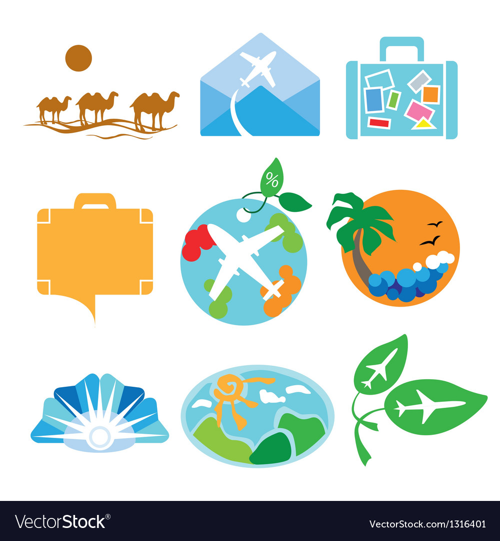 Collection of logos for travel agencies vector