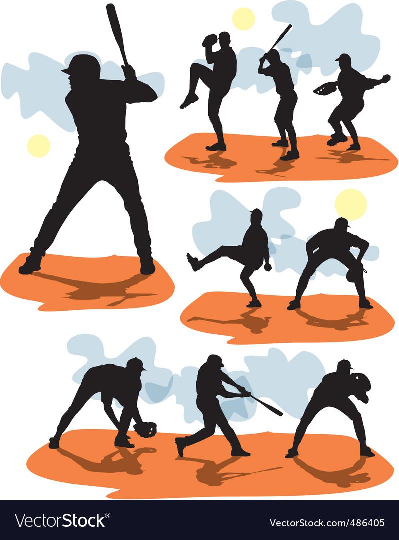Set baseball silhouettes vector