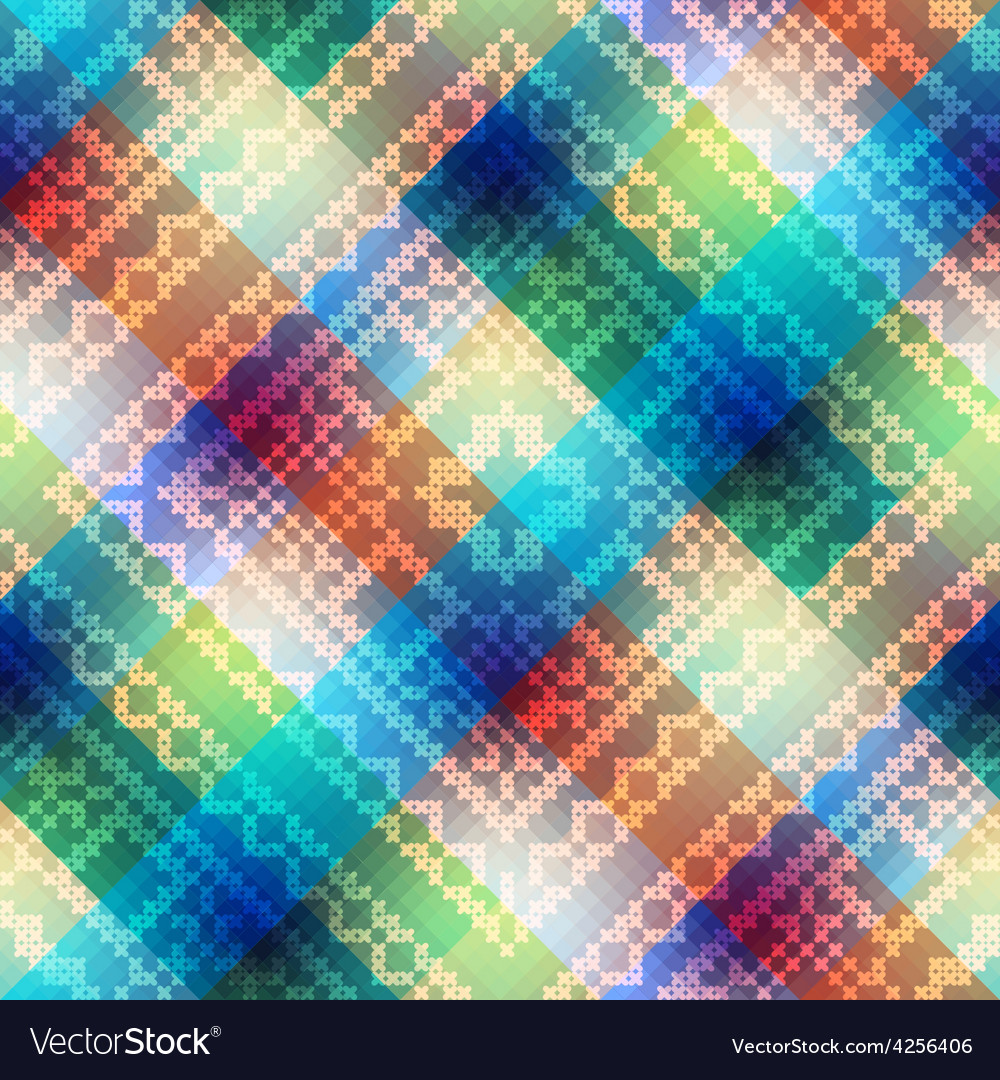 Plaid diagonal with embroidery ornament vector