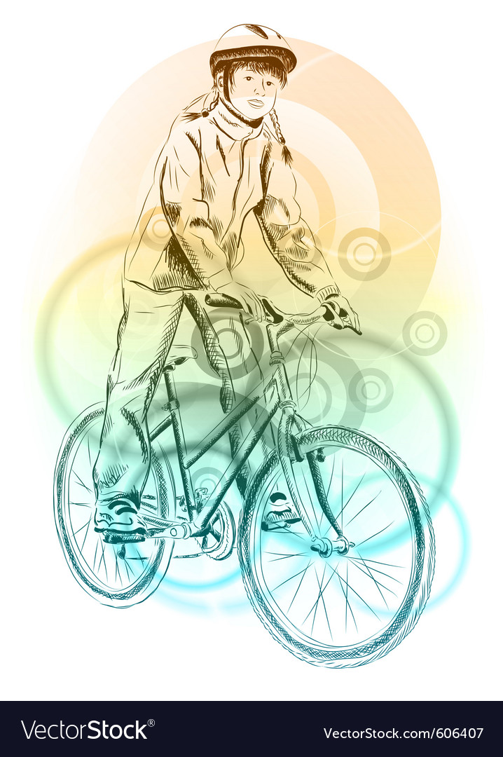 Girl on the bicycle on the background vector