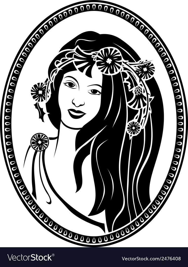 Medallion vignette portrait of a girl in a wreath vector
