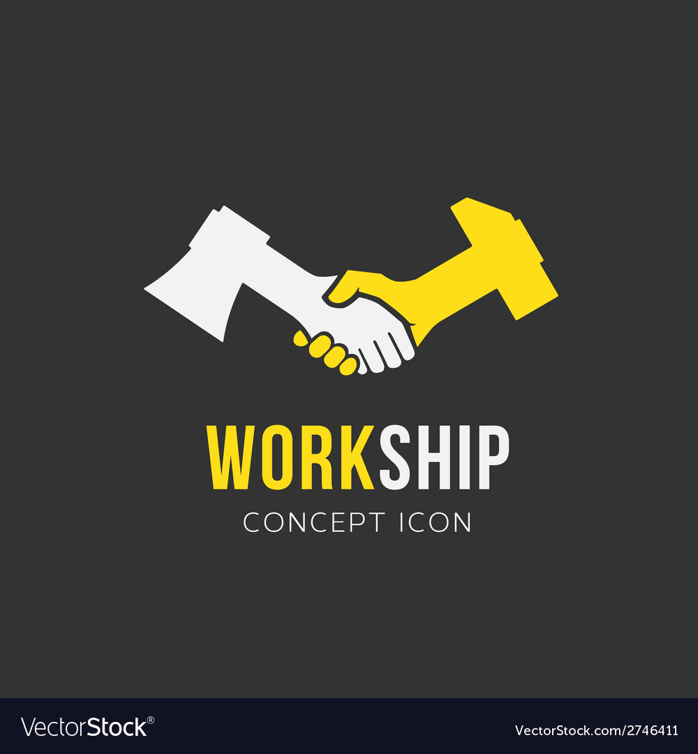 Work and friendship abstract symbol icon or logo vector
