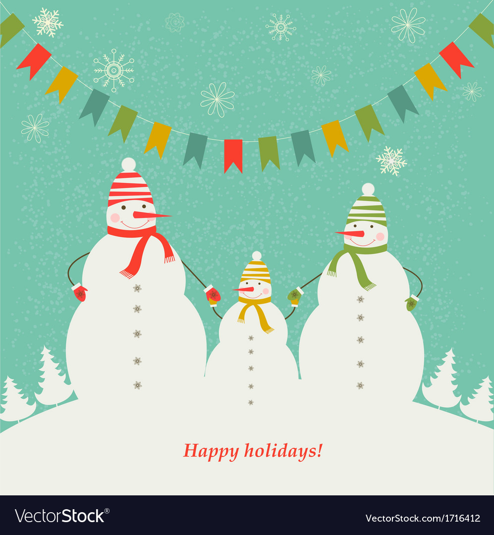 Christmas card with the family of snowmen vector
