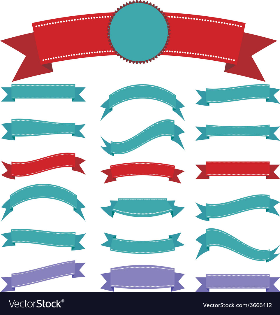 Set vintage ribbon on a white background vector