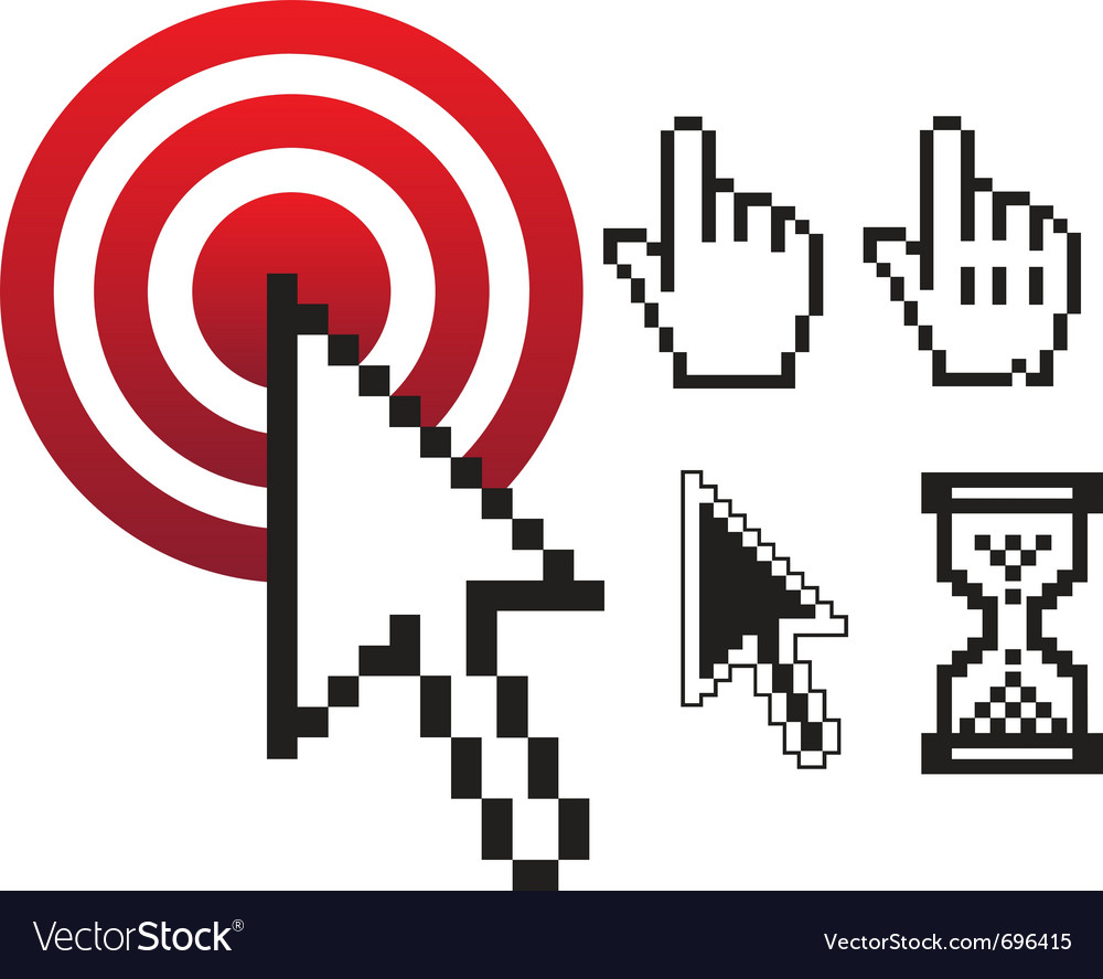 Set of pixel cursors vector
