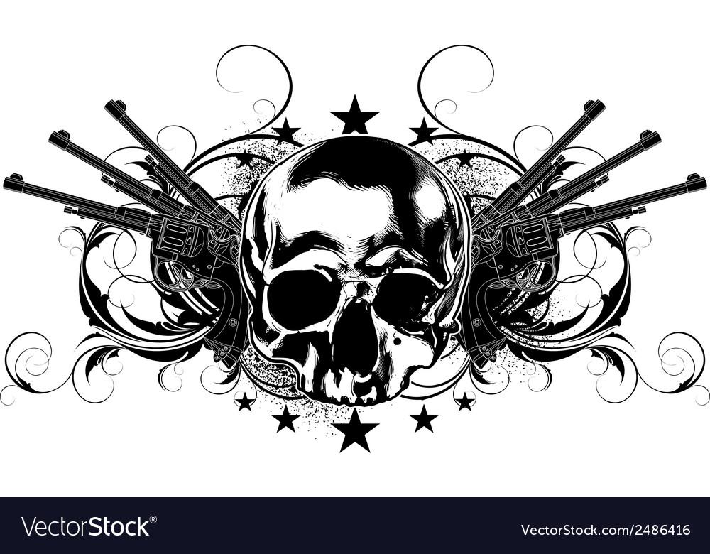Skull human and guns vector