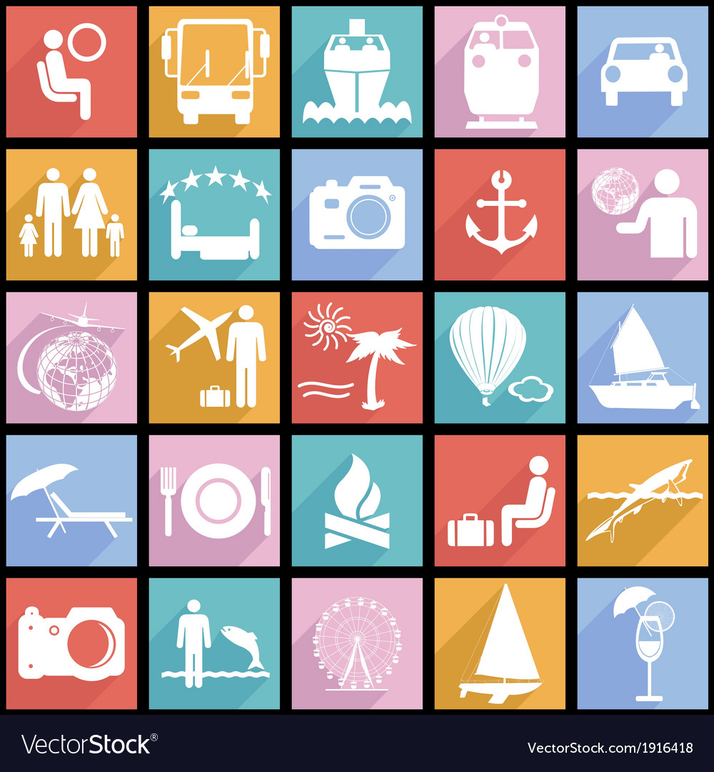 Collection flat icons with long shadow travel vector