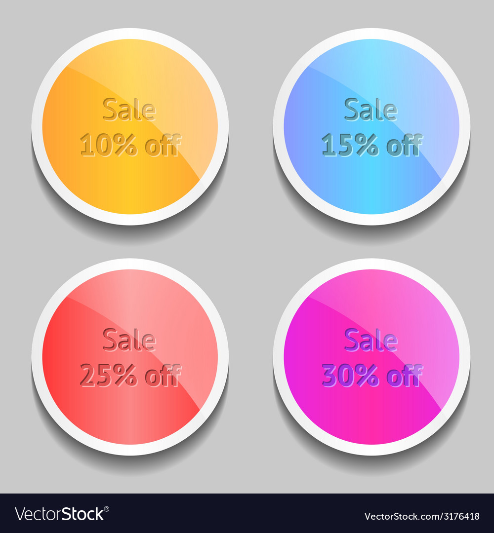 Cute labels with shine and shadow vector