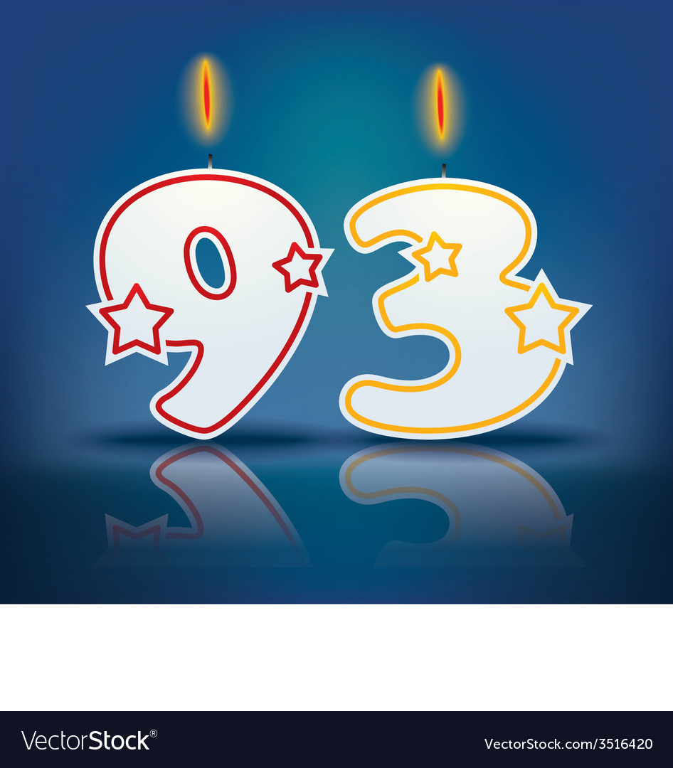 Birthday candle number 93 vector