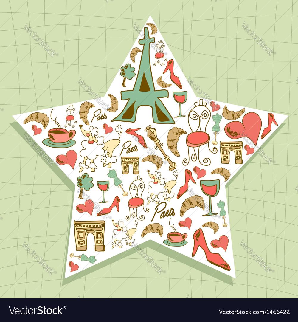 Travel paris icon set star vector